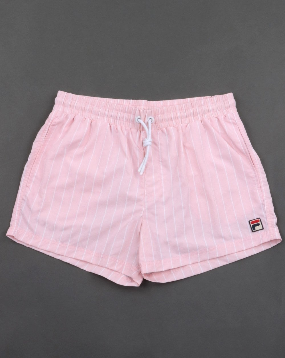 c5d06d284676 Fila Vintage Pinstripe Swim Shorts Pink | 80s casual classics