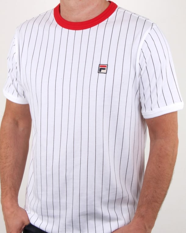 Fila Vintage Pinstripe T Shirt White/navy/red