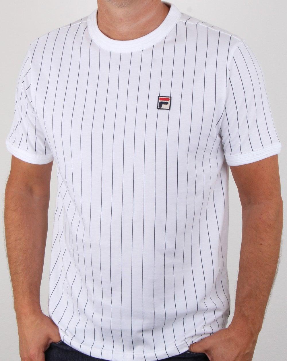 2ae1403846 Fila Vintage Pinstripe T Shirt White | 80s casual classics