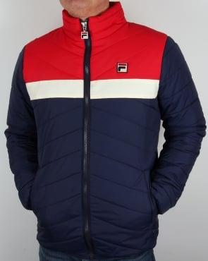 Fila Vintage Piselli Padded Jacket Navy/Gardenia/Red