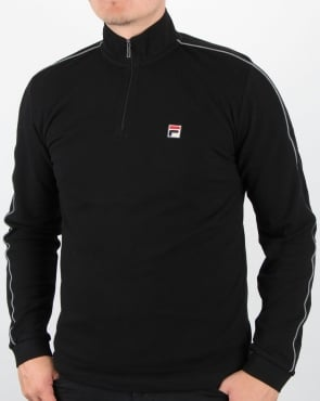 Fila Vintage Quarter Zip Roll Neck Black