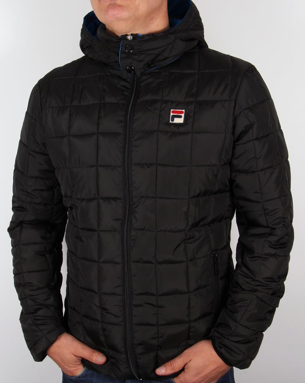 Fila Vintage Passo Quilted Jacket Black Coat Padded Hooded
