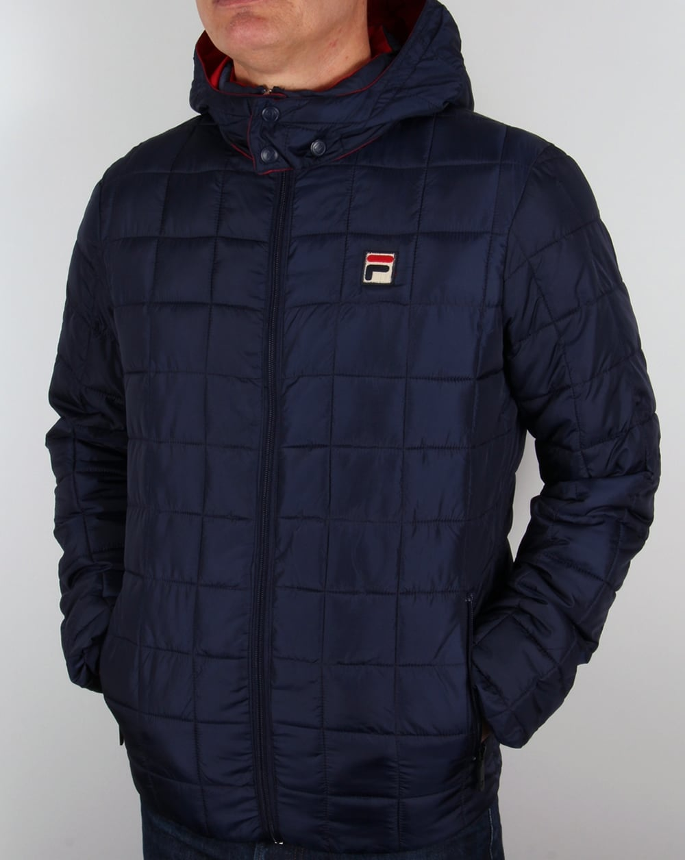 Fila Vintage Passo Quilted Jacket Navy Coat Padded Hooded Mens