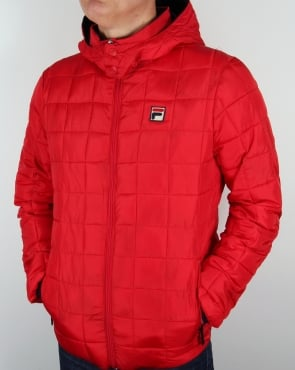 Fila Vintage Quilted Hooded Jacket Red