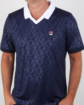 Fila Vintage Retro Football Shirt Navy/white