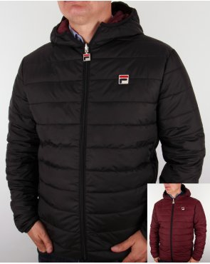 Fila Vintage Reversible Puffer Jacket Black/deep Wine
