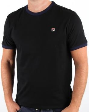 Fila Vintage Ringer T Shirt Black