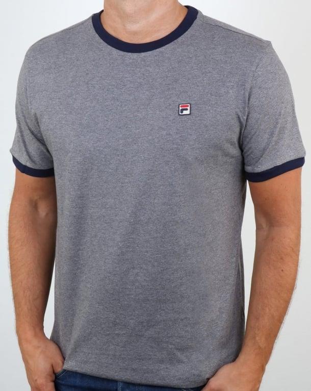 Fila Vintage Ringer T Shirt Grey Twist