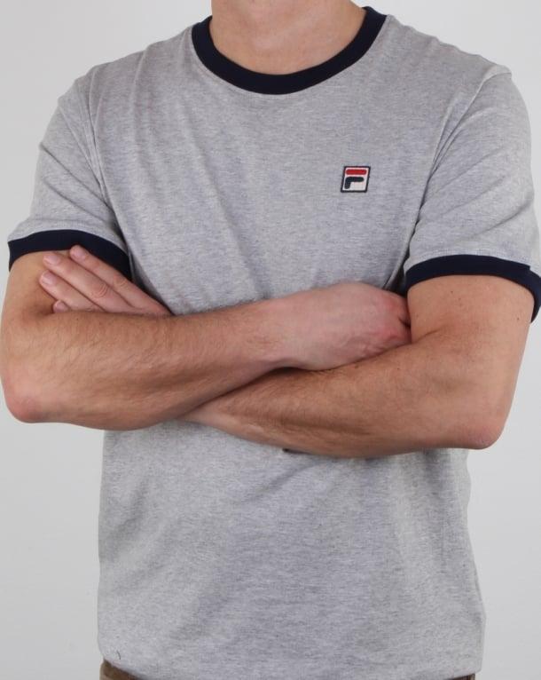 Fila Vintage Ringer T Shirt Light Grey Marl/navy