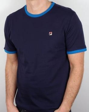 Fila Vintage Ringer T Shirt Navy/Royal