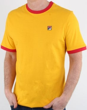 Fila Vintage Ringer T Shirt Yellow/Red