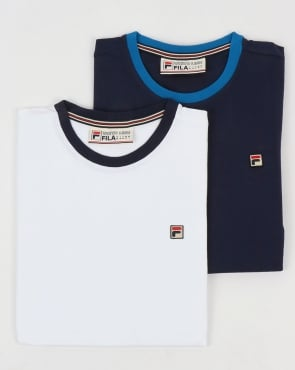 Fila Vintage Ringer T Shirts Twin Pack White/Navy
