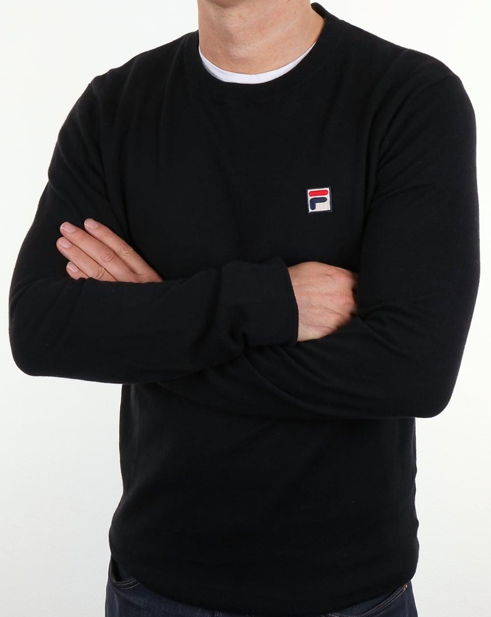e8d25959215 Fila Vintage Sala Crew Neck Jumper Black,round,cotton,sweater,mens