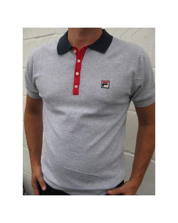 Fila Vintage Santiago Sanah Polo Shirt Grey