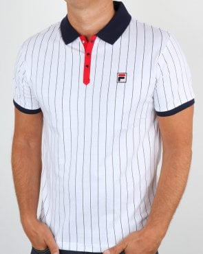 Fila Vintage Settanta Polo Shirt White/Red/Navy
