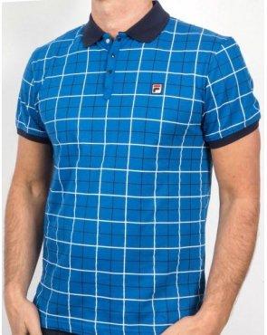 Fila Vintage Settimo Windowpane Polo Shirt French Blue