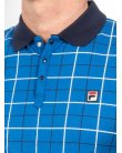 Fila Vintage Settimo Windowpane Polo Shirt French Blue