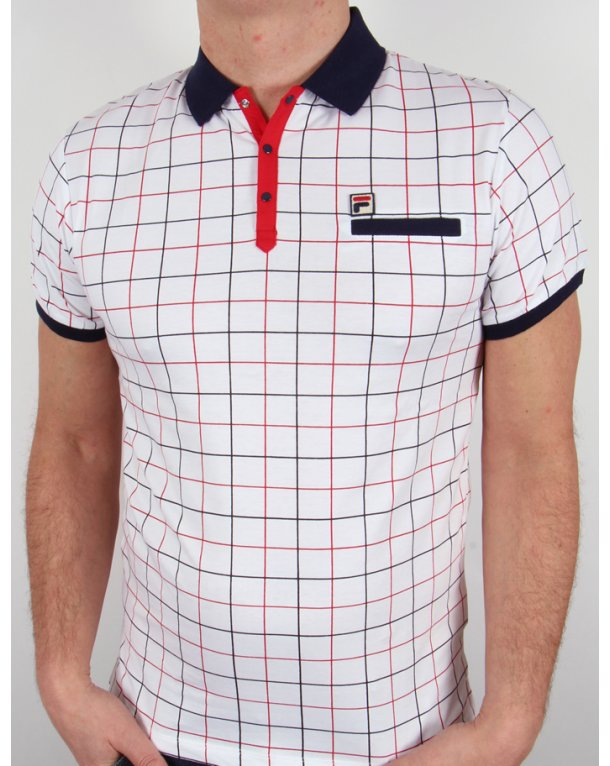 Fila Vintage Settimo Windowpane Polo Shirt White