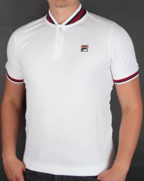 Fila Vintage Skippa Polo Shirt White/Navy/Red