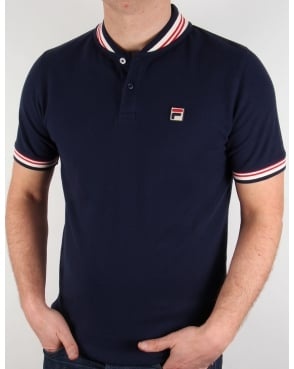 Fila Vintage Skippa Polo T-Shirt Navy