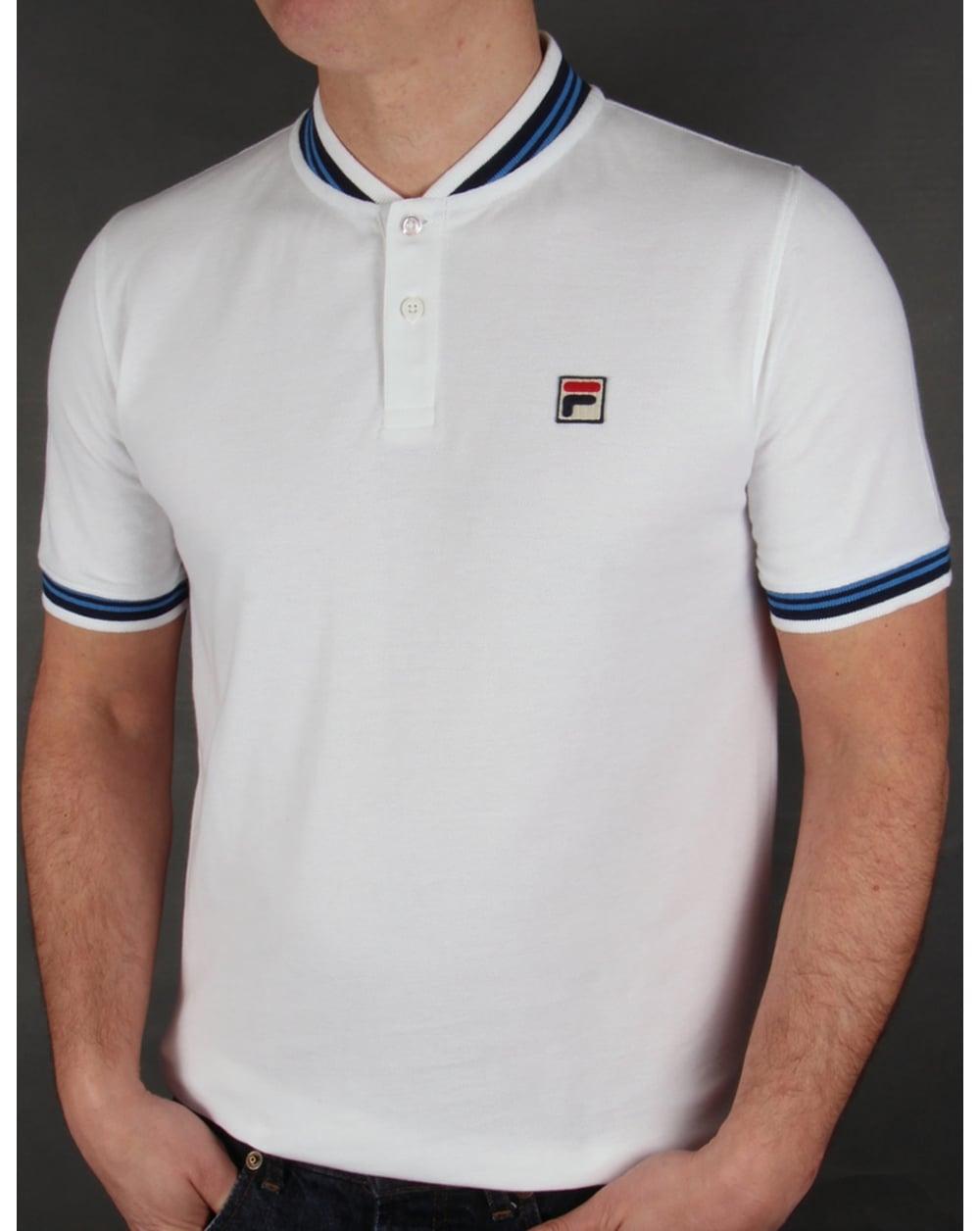 MENS FILA VINTAGE Magliette Classic Pique Polo Shirt Tee T