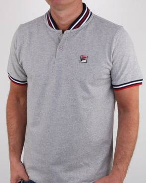 Fila Vintage Skipper Polo Shirt Light Grey Marl