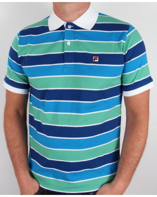 Fila Vintage Smuggler Striped Polo Italia Blue/Spring Green