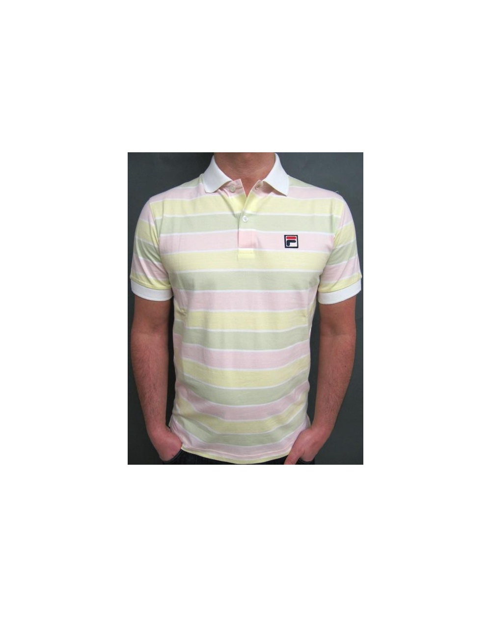 a8952ce2 Fila Vintage Fila Vintage Smuggler Striped Polo White/Yellow/Pink/Green