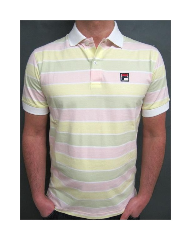 Fila Vintage Smuggler Striped Polo White/Yellow/Pink/Green