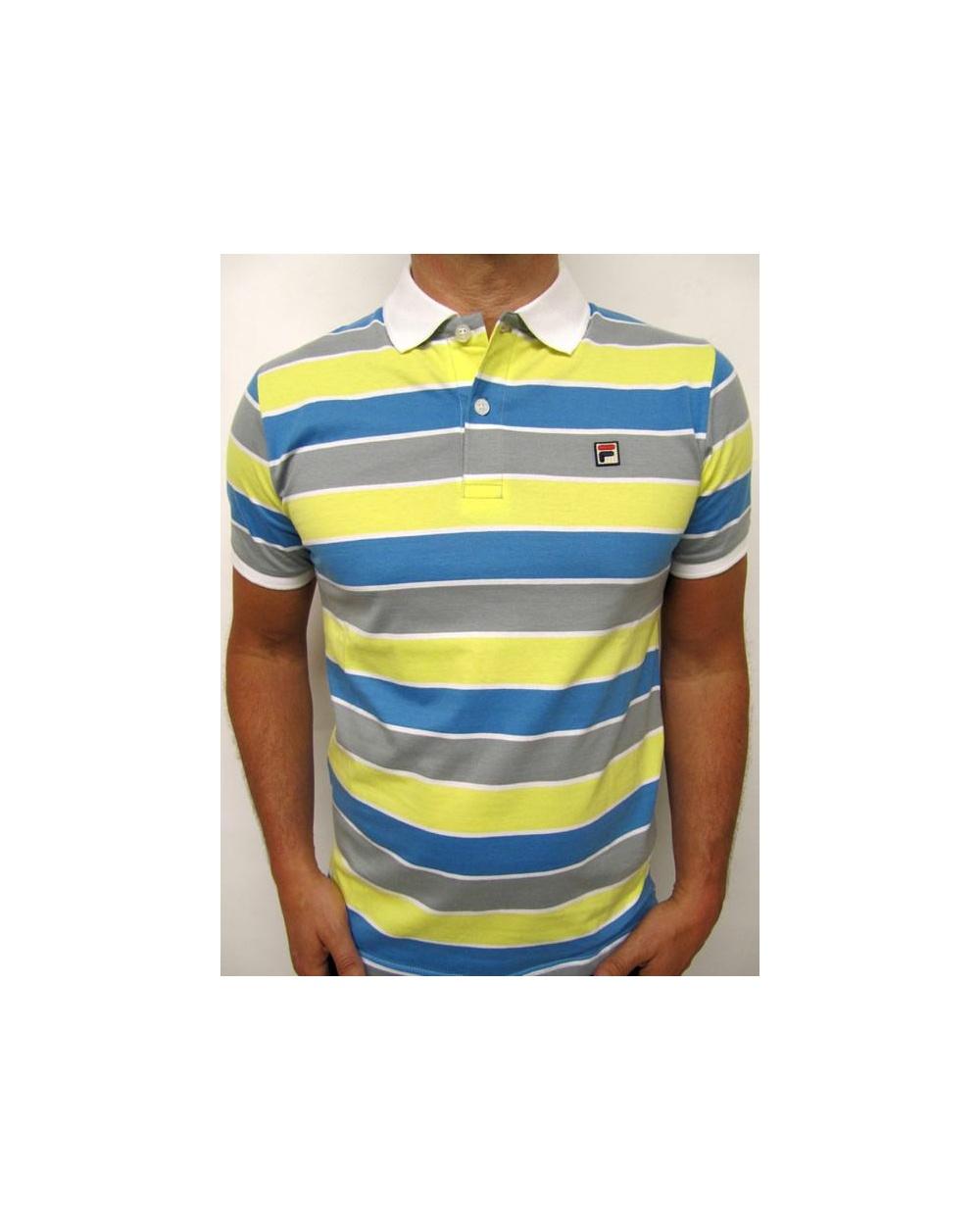 9d7c5eba1b Fila Vintage Smuggler Striped Polo Yellow/Blue/Grey - fila vintage ...