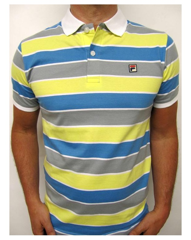 Fila Vintage Smuggler Striped Polo Yellow/Blue/Grey