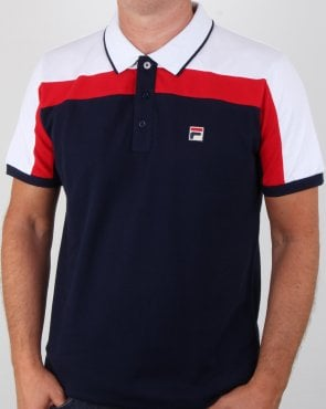 Fila Vintage Spencer Polo Shirt Navy/white/red