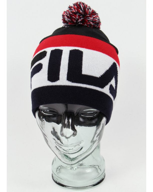 Fila Vintage Stanco Bobble Beanie Navy red white - bobble beanie hat 93aa2da1ce1