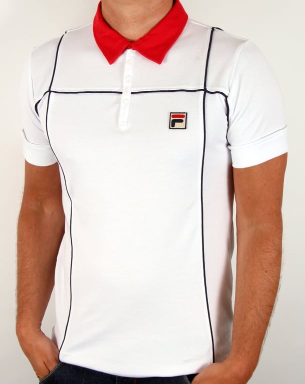 Fila Vintage Terrinda Polo Shirt White/Red