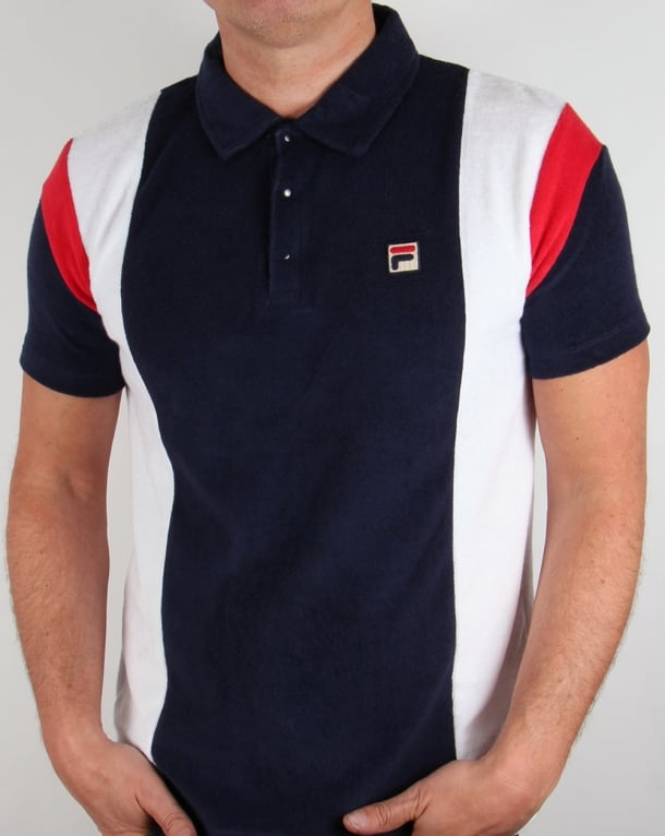 Fila Vintage Terry Polo Shirt Navy/White/Red