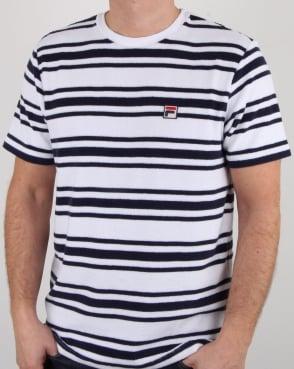 Fila Vintage Terry Stripe T Shirt White