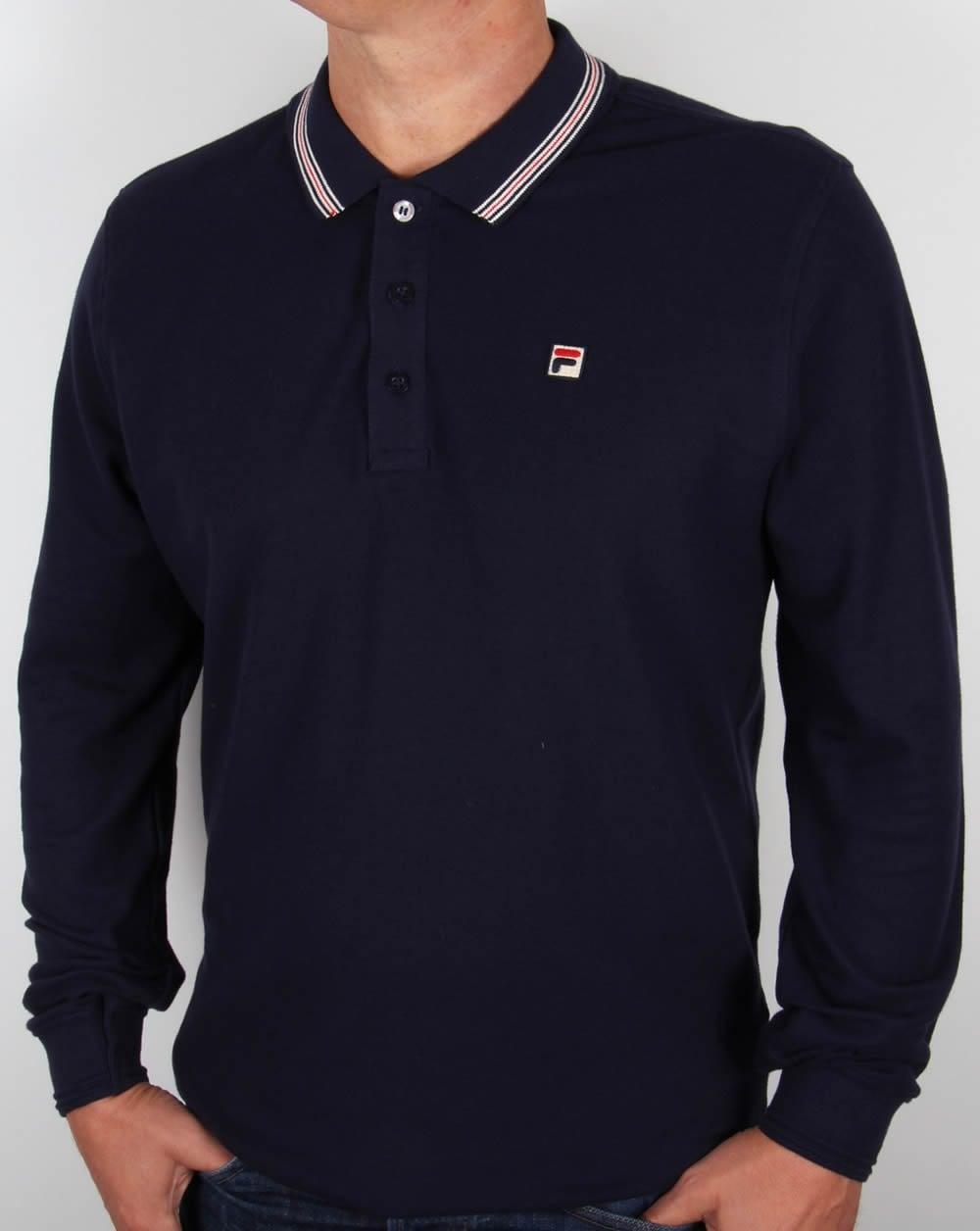 Fila Vintage Tipped Long Sleeve Polo Shirt Navy