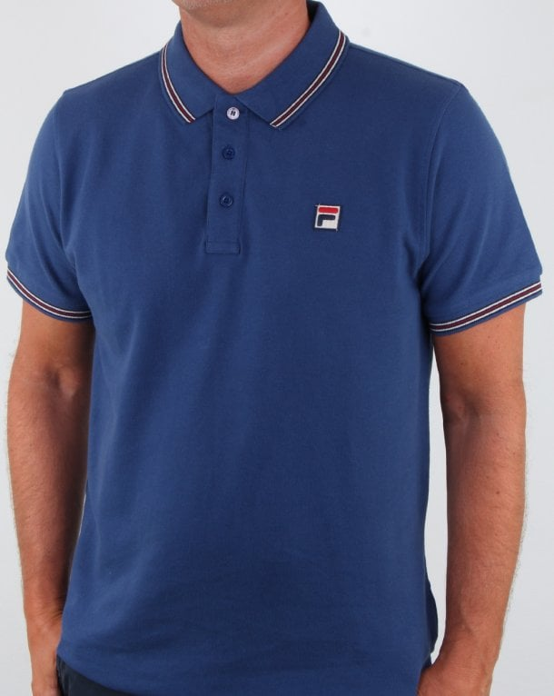 Fila Vintage Tipped Polo Shirt Mid Blue