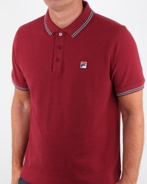 Fila Vintage Tipped Polo Shirt Tibetan Red