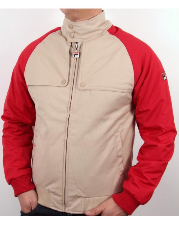 Fila Vintage Toldo Bomber Jacket Cream/red