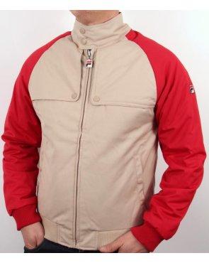 Fila Vintage Toldo Bomber Jacket Cream/red