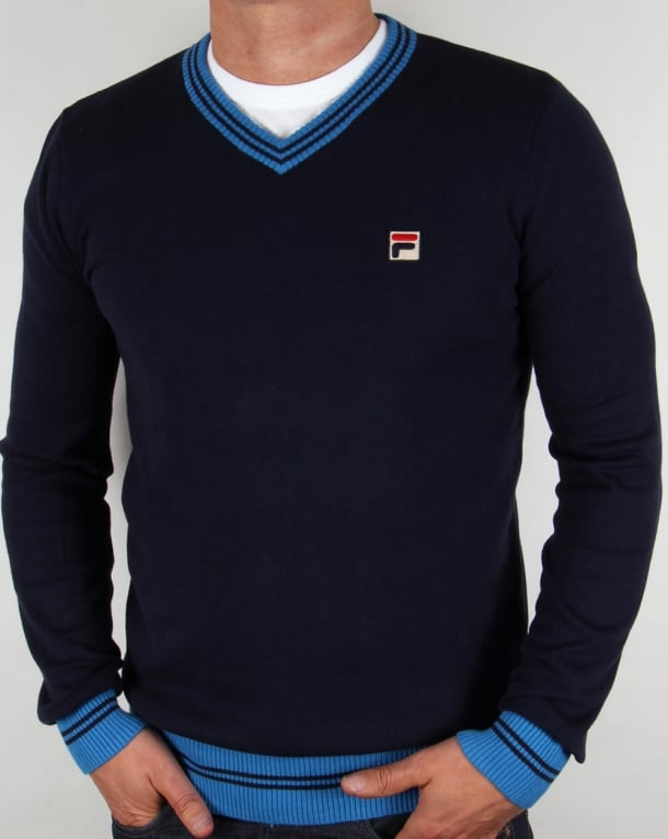Fila Vintage V Neck Sweater Navy/Ocean Blue