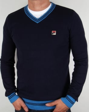 Fila Vintage V Neck Sweater Navy/Ocean Blue