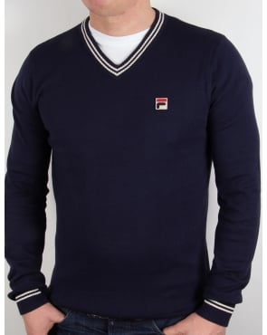 Fila Vintage V Neck Sweater Navy/White