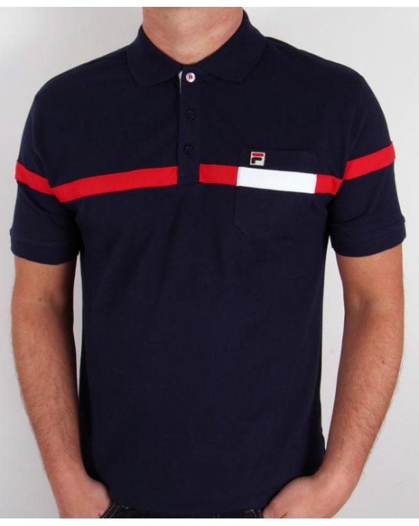 Fila Vintage Varelli Polo Shirt Navy
