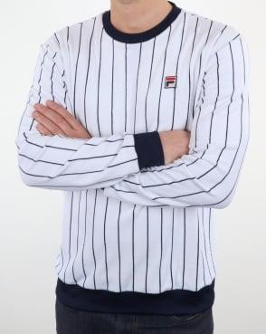 Fila Vintage Velour Stripe Sweat Top White