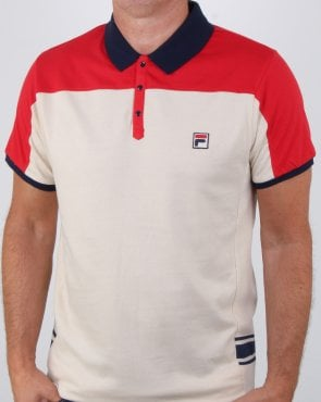 Fila Vintage Vilas Polo Shirt Chinese Red