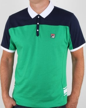 Fila Vintage Vilas Polo Shirt Green Navy