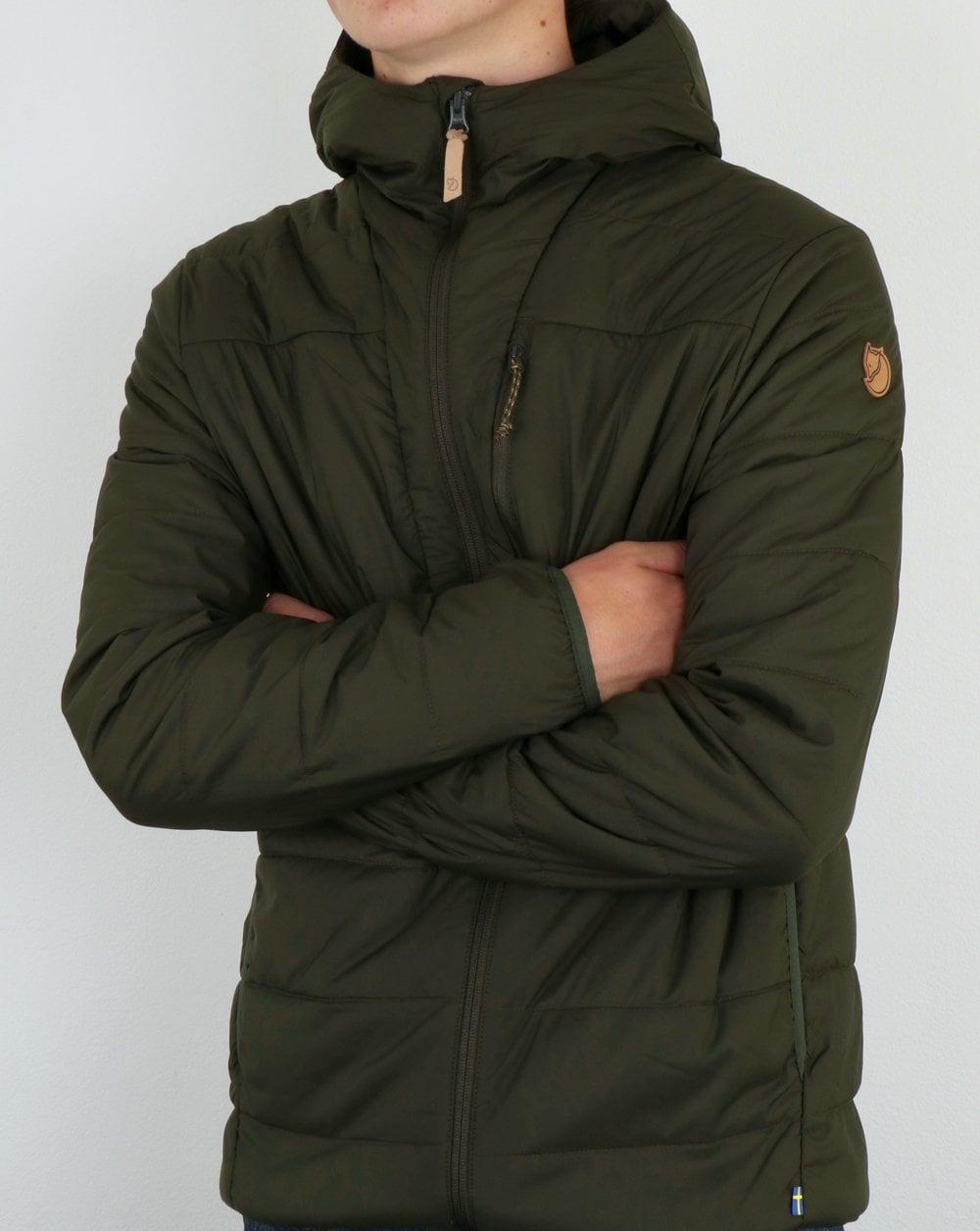 Fjallraven Keb Padded Jacket Deep Forest Hooded Coat Mens