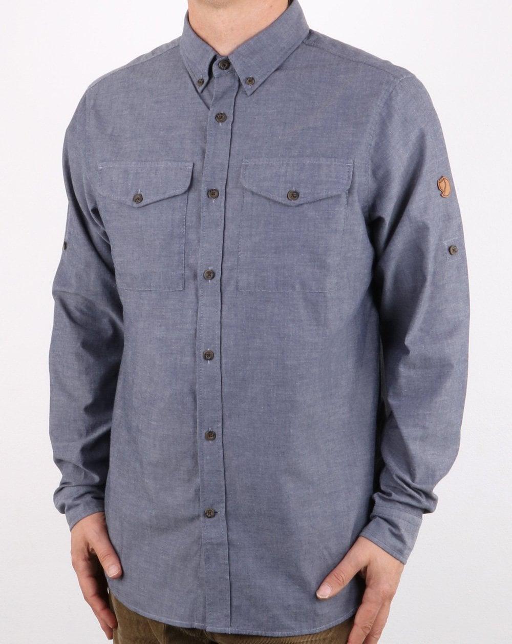 Fjallraven Ovik Chambray Shirt Navy, Mens, Smart, Cotton, Long sleeved 1fc3e1466b